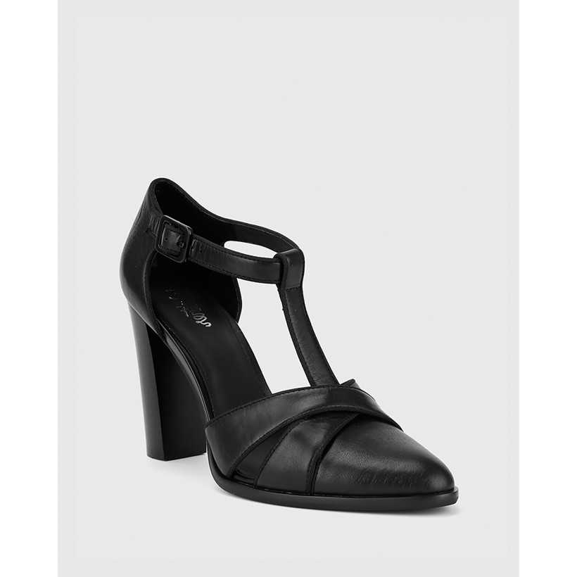 Wilde T-Bar Almond Toe Block Heel Mary Janes Black by Wittner