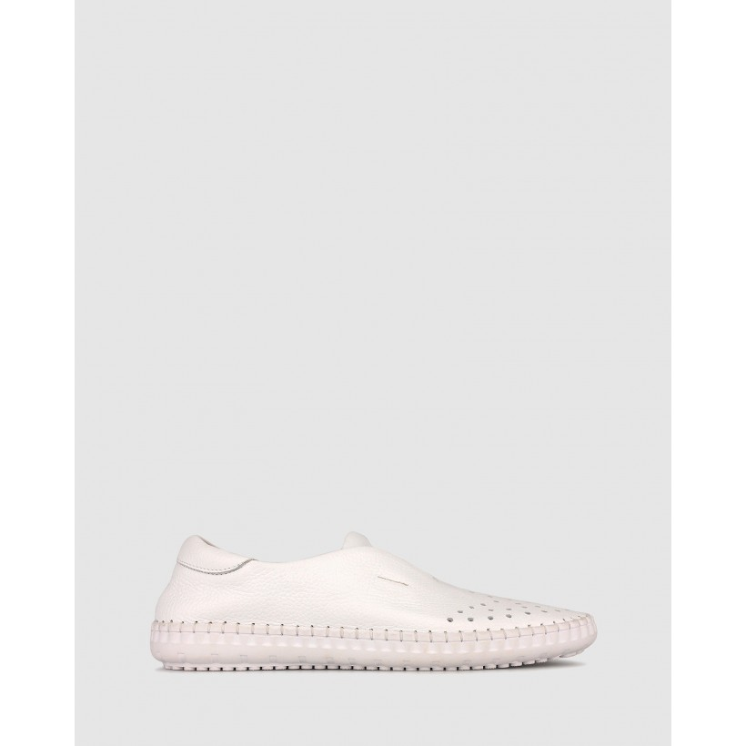 Yearn Leather Slip On Loafers White by Airflex
