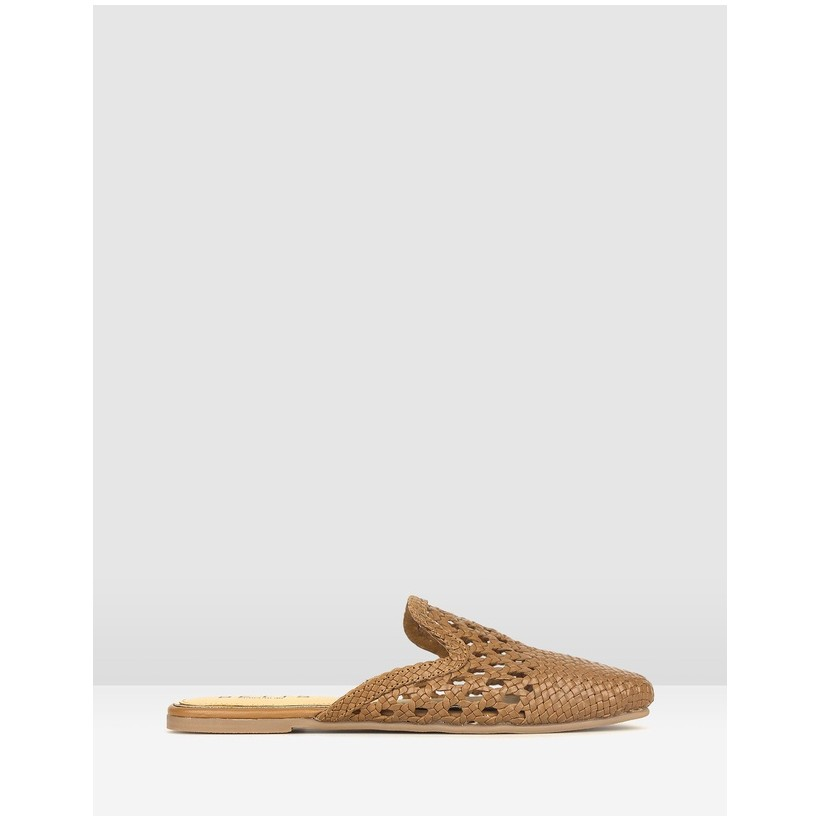 Zahara Woven Leather Loafers Tan by Betts