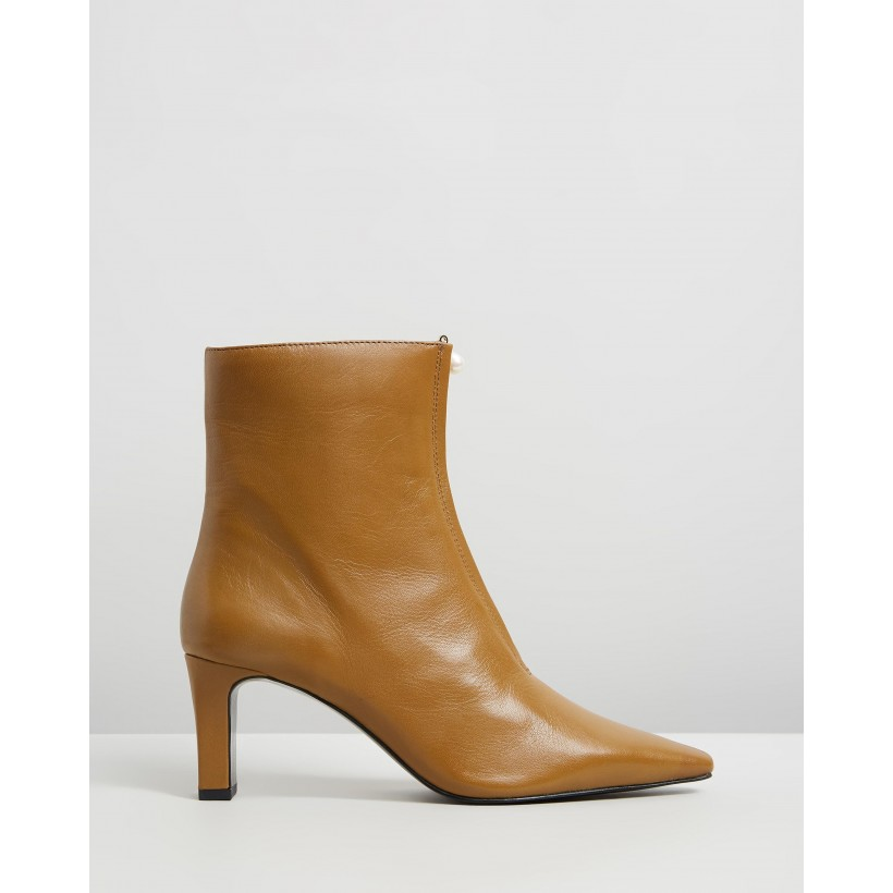 Zipped Detail Ankle Boots Olive by M.N.G