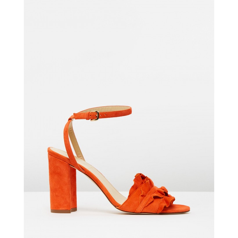Suede Stella Ruffle Sandals Bright Persimmon by J.Crew