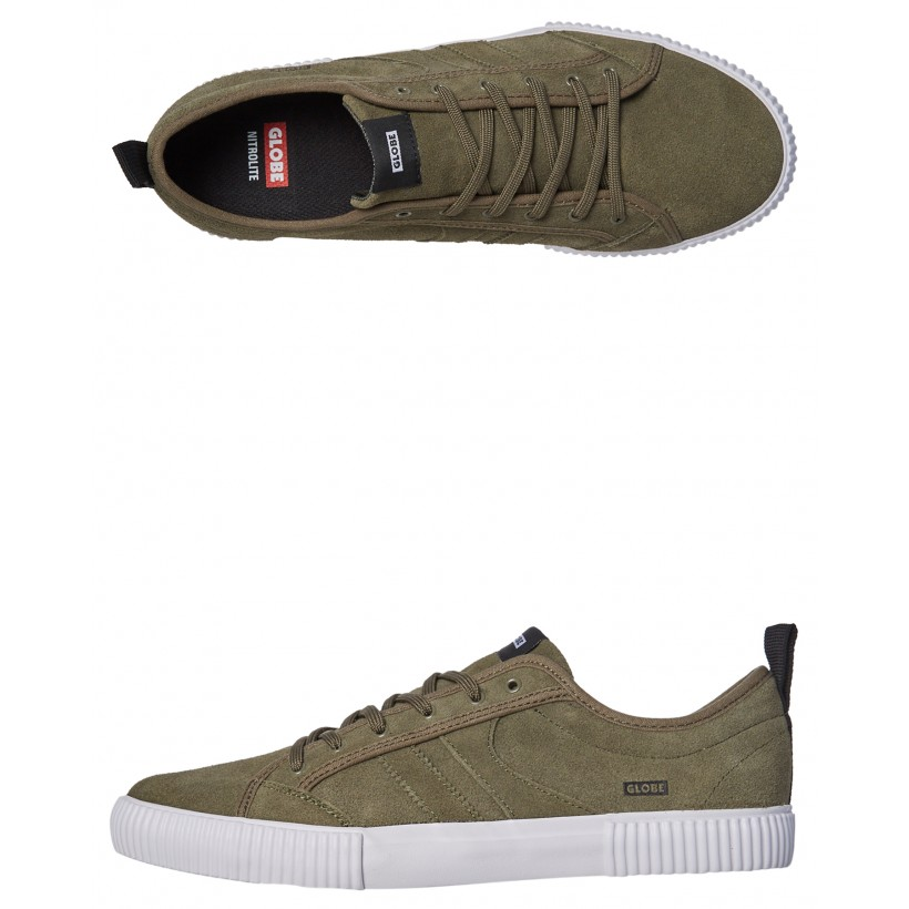 Filmore Suede Shoe Olive White By GLOBE