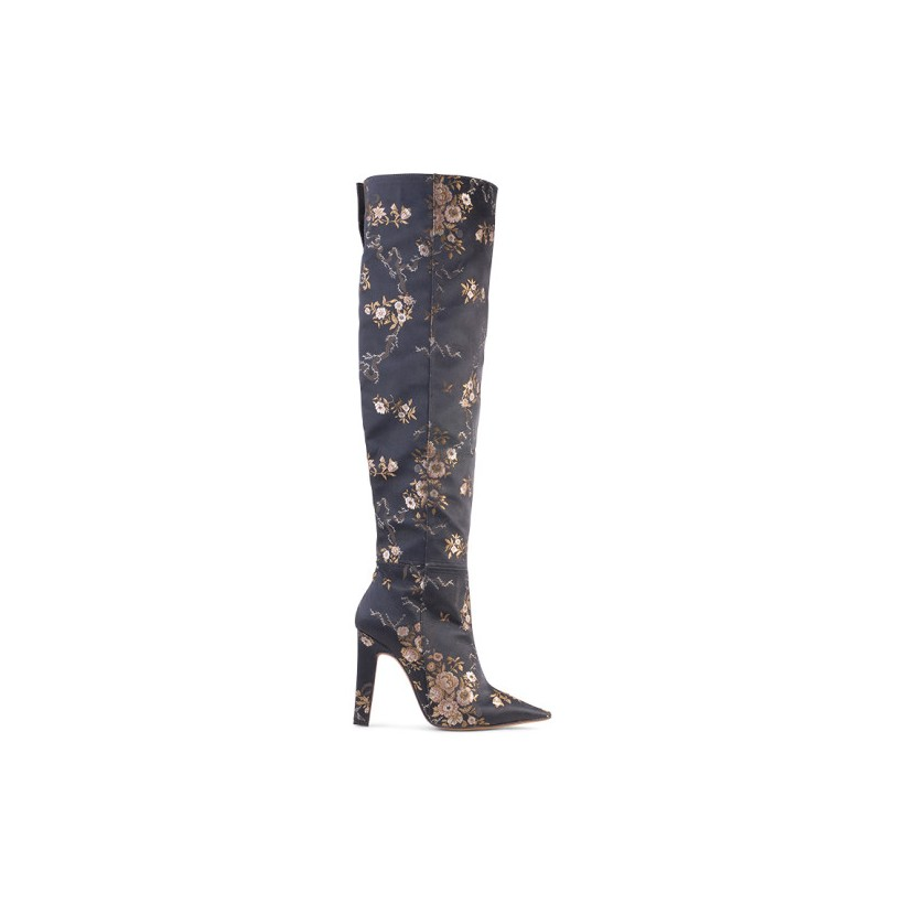 Paloma - Black Brocade by Siren Shoes