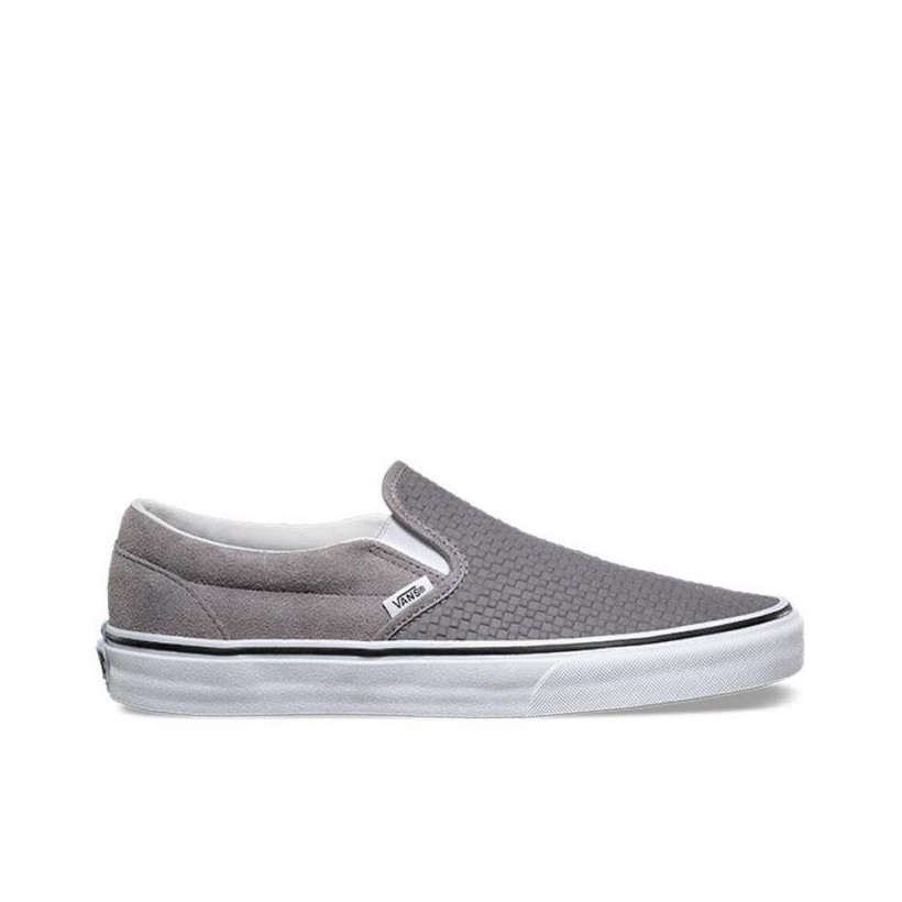 CLASSIC SLIP-ON EMBOSSED SUEDE (EMBOSSED SUEDE) FROST GRAY/TRUE WHITE