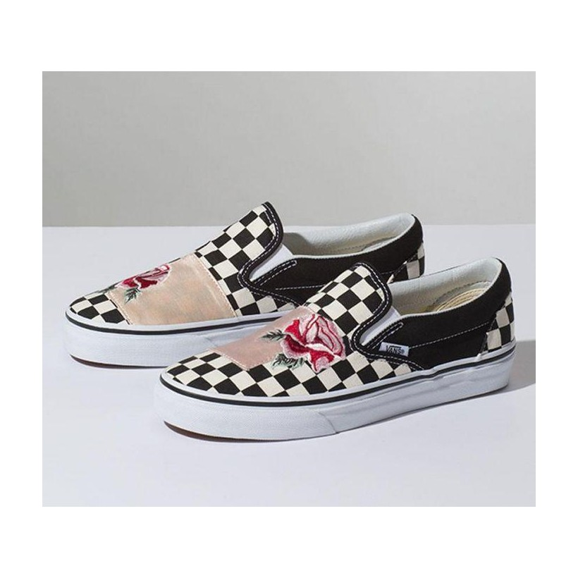 CLASSIC SLIP ON SATIN PATCHWORK (SATIN PATCHWORK) CHECKER/ROSE