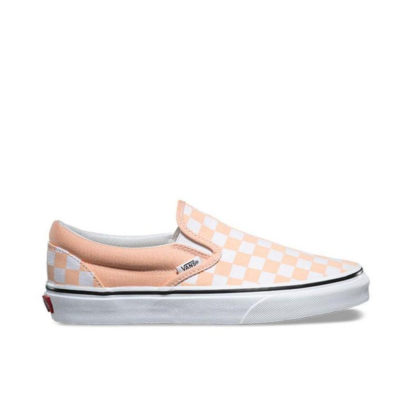 COLOUR THEORY CLASSIC SLIP-ON (CHECKERBOARD) BLEACHED APRICOT/TRUE WHITE