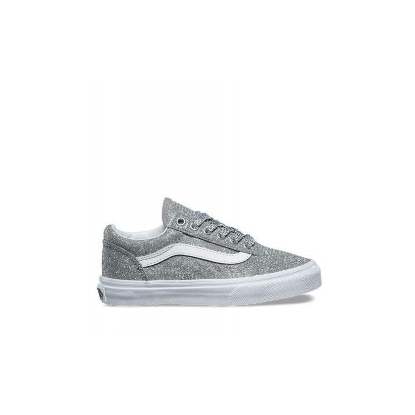 Kids Old Skool Lurex Glitter (Lurex Glitter) Silver/True White