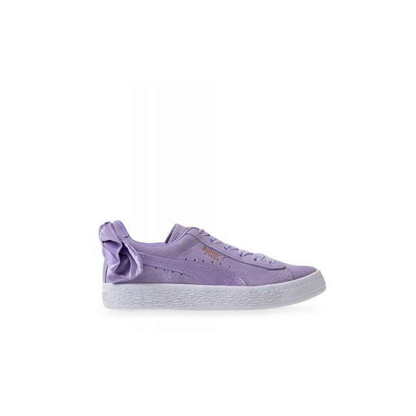 Kids Suede Bow PS Purple Rose