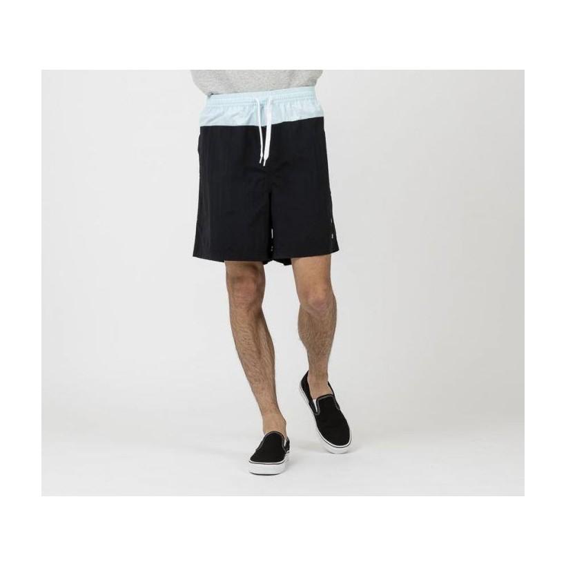 Mens Athletic Panelled Shorts Blk + Sea Brz