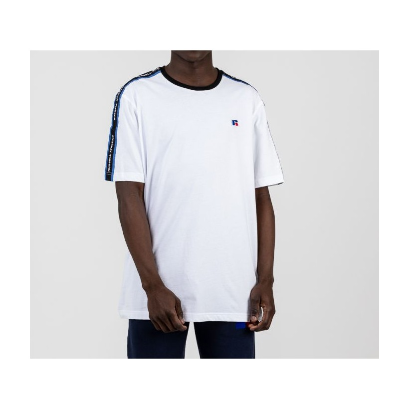 Mens Athletic Taped Tee White