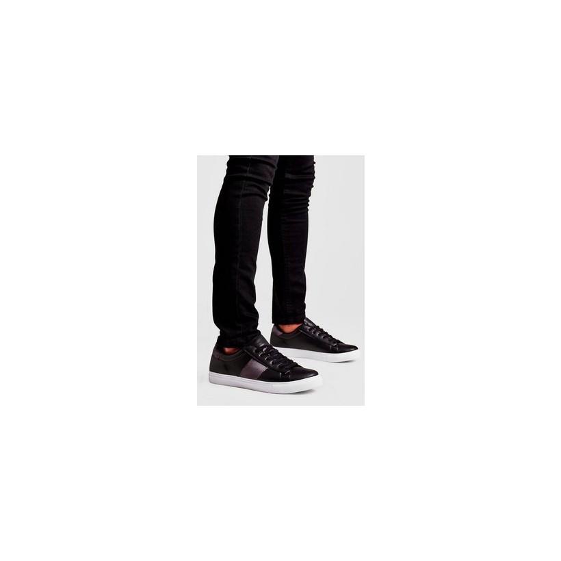 Contrast Velvet Side Tape Trainer in Black