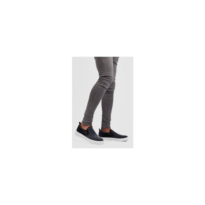 Slip On Velvet Trainer in Grey