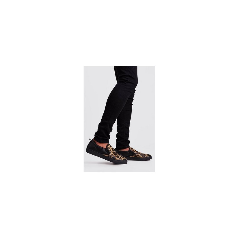 Leopard Slip On Trainer in Black