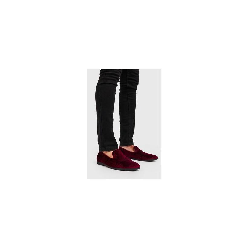 Faux Velvet Embossed Loafer in Red