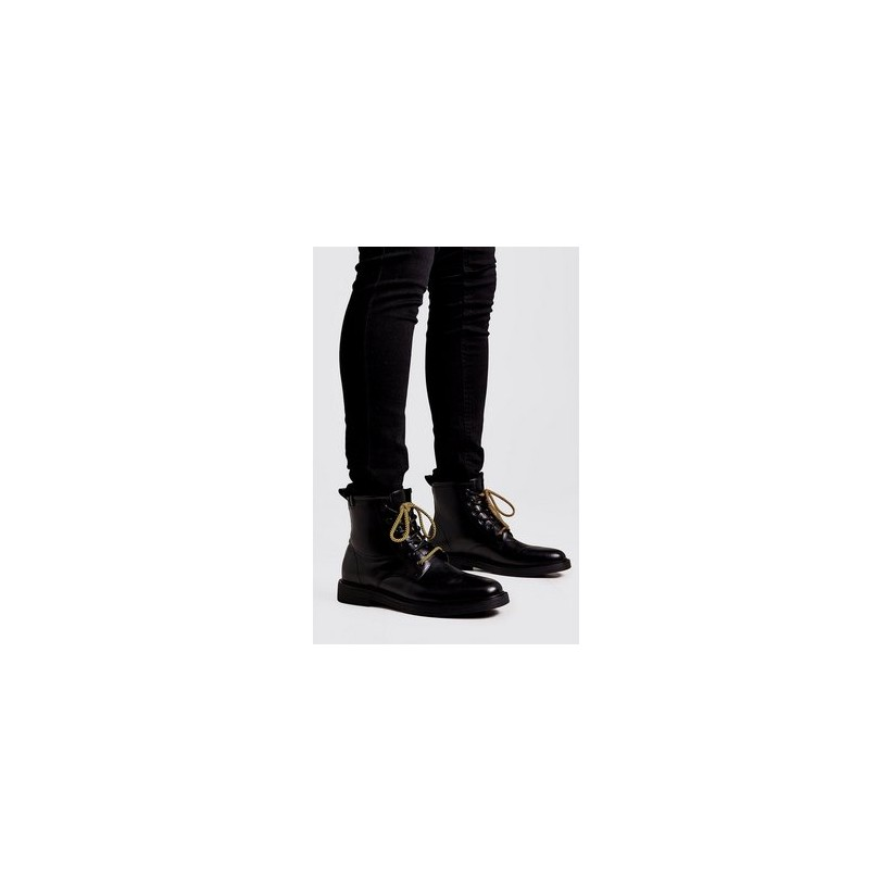 Chunky Sole Military Boot in Black