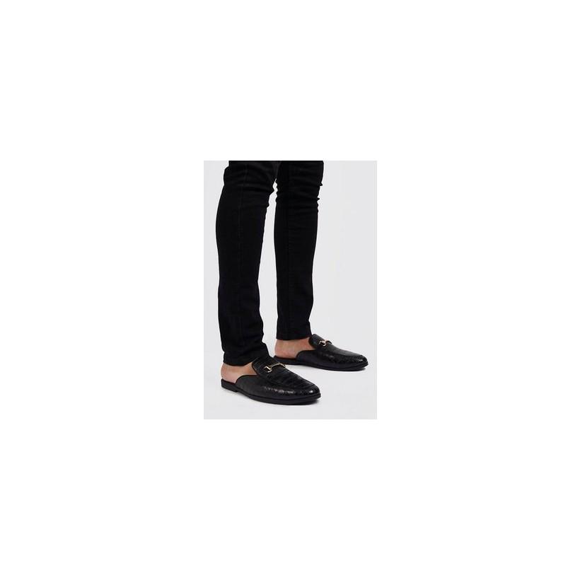 Croc Effect Slip On Loafer in Black