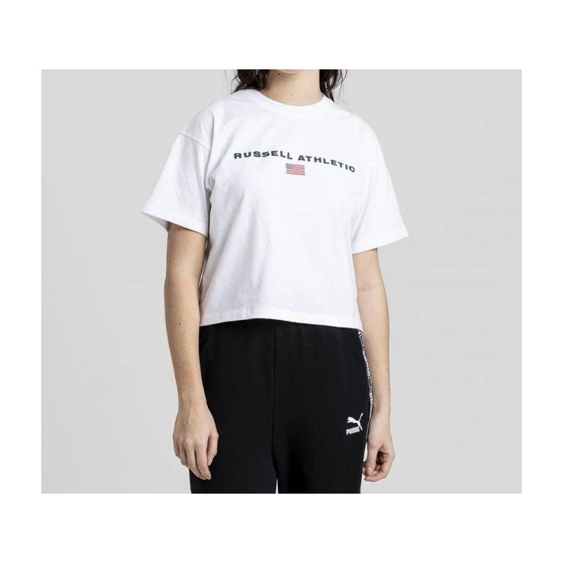 Womens Athletic Boxy Logo Tee White