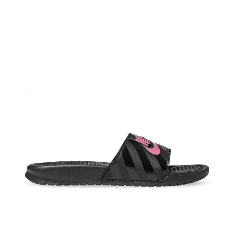 Womens Benassi JDI Slide Black/Vivid Pink-Black