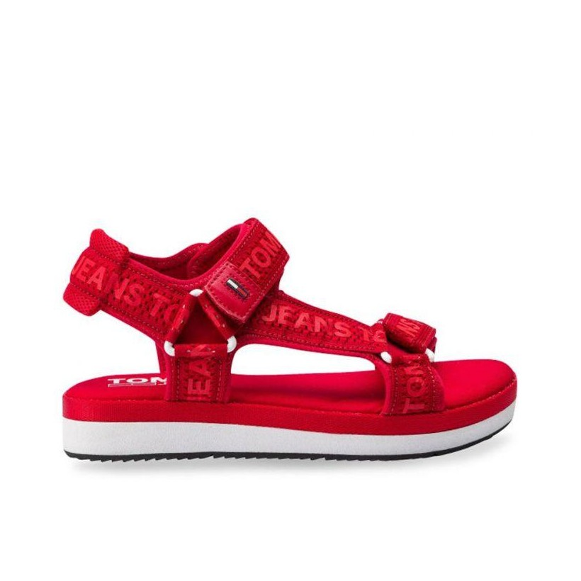 Womens Mesh Webbing Sporty Sandal Tango Red
