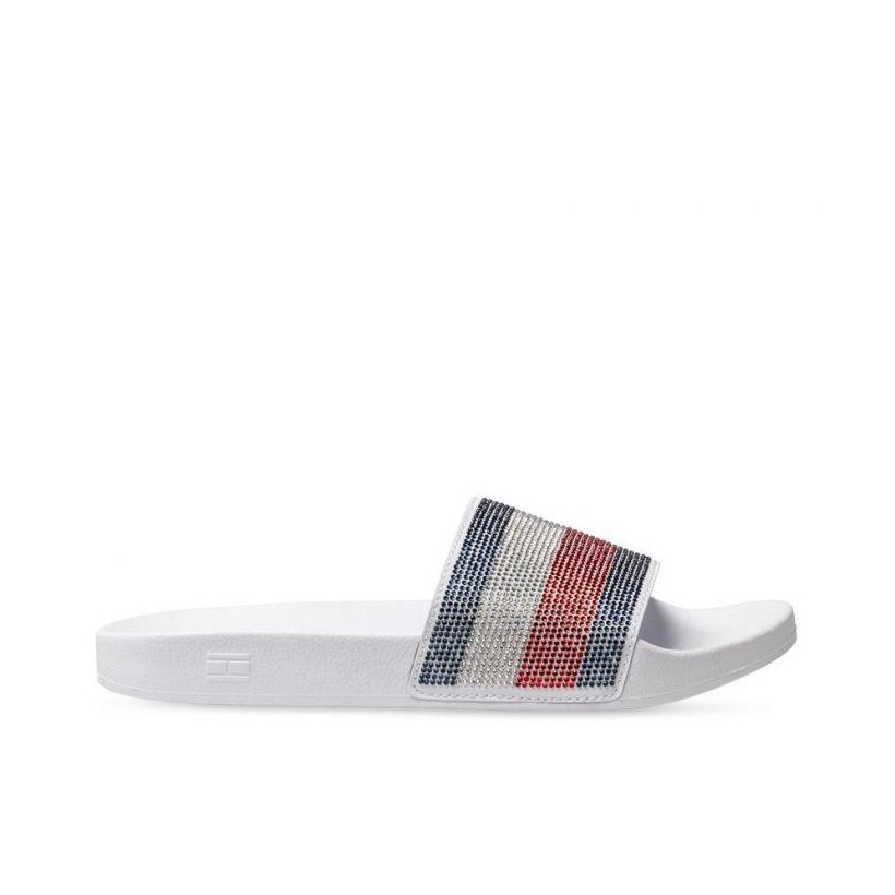 Womens Tommy Poolslide White