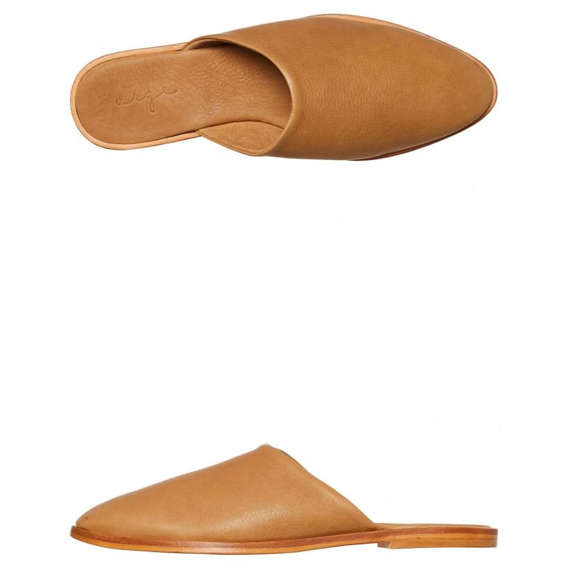 Womens Loui Slide Saddle Tan Leather