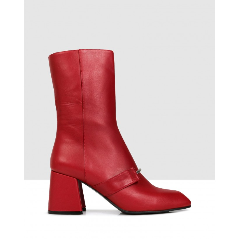 Bristol Mid Calf Boots 200 Red by Sempre Di