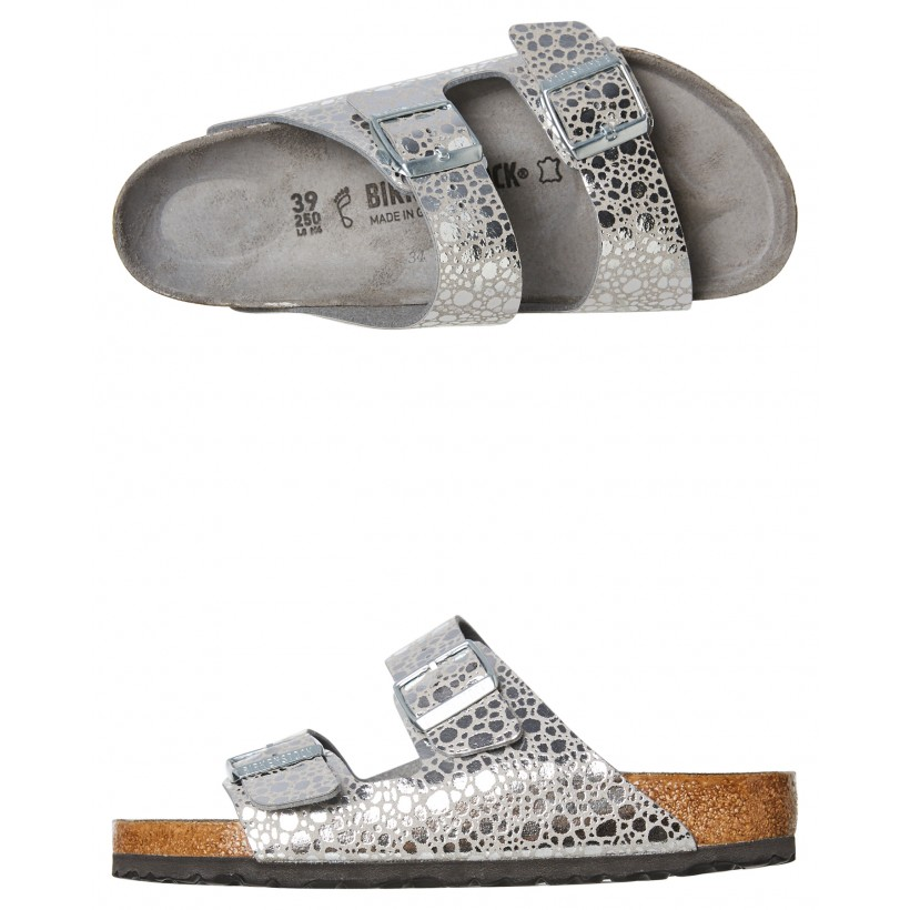 Womens Arizona Metallic Sandal Silver Grey By BIRKENSTOCK