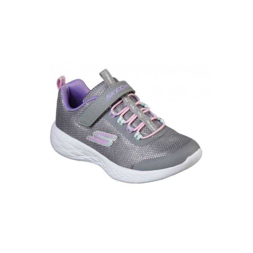 Grey/Multi - Girls' Skechers GOrun 600 - Sparkle Runner