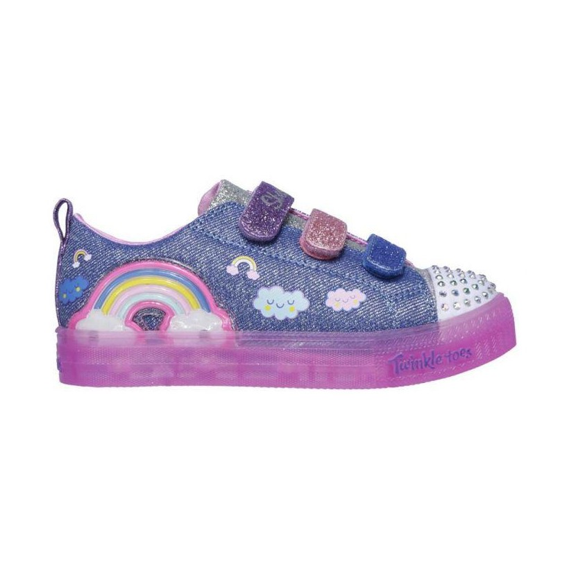Denim/Multi - Girls' Twinkle Toes: Shuffle Brights - Rainbow Glow