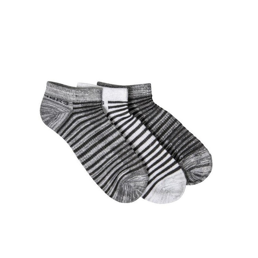 Grey / Black - Women's 3 Pack Non-Terry Low Cut Socks