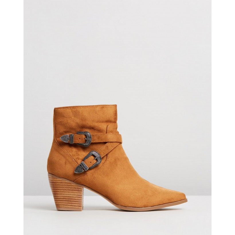 Lucienne Ankle Boots Tan Microsuede by Spurr