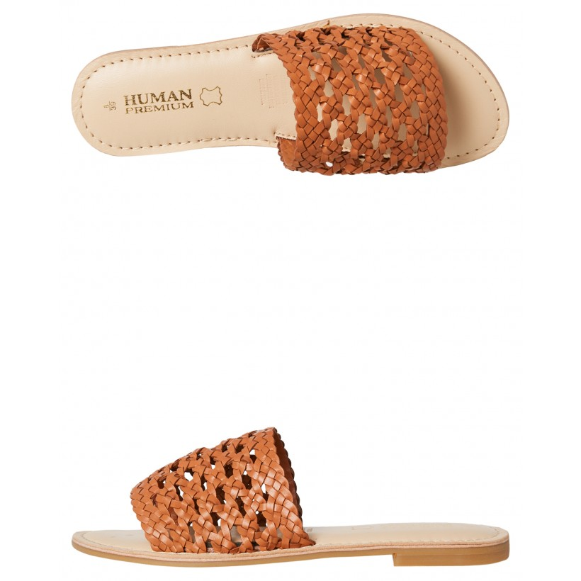 Womens Tucson Slide Tan Leather By HUMAN FOOTWEAR