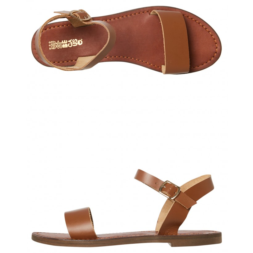 Womens Mamuca Leather Sandal Tan By JUST BECAUSE