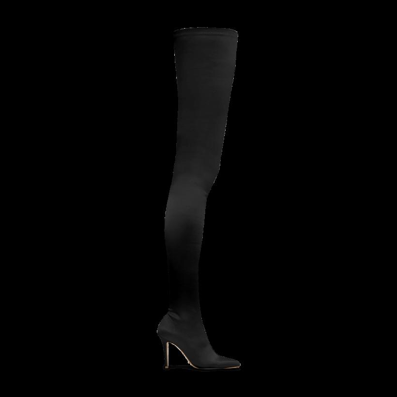 Dene Black Stretch Satin Long Boots by Tony Bianco Shoes
