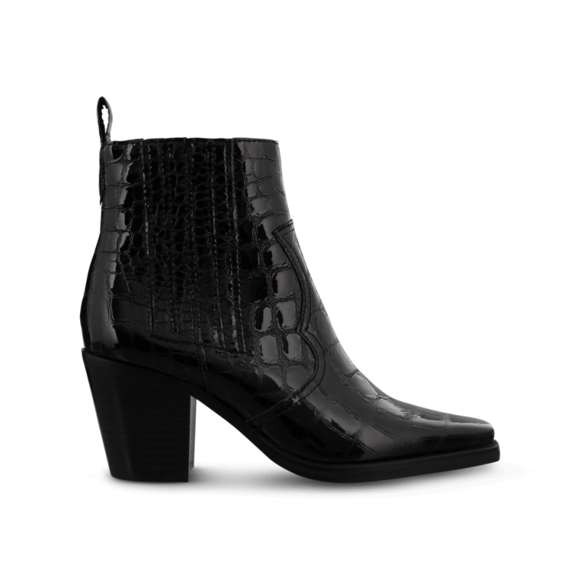 Gloss Black Croc Patent Ankle Boots by Tony Bianco Shoes