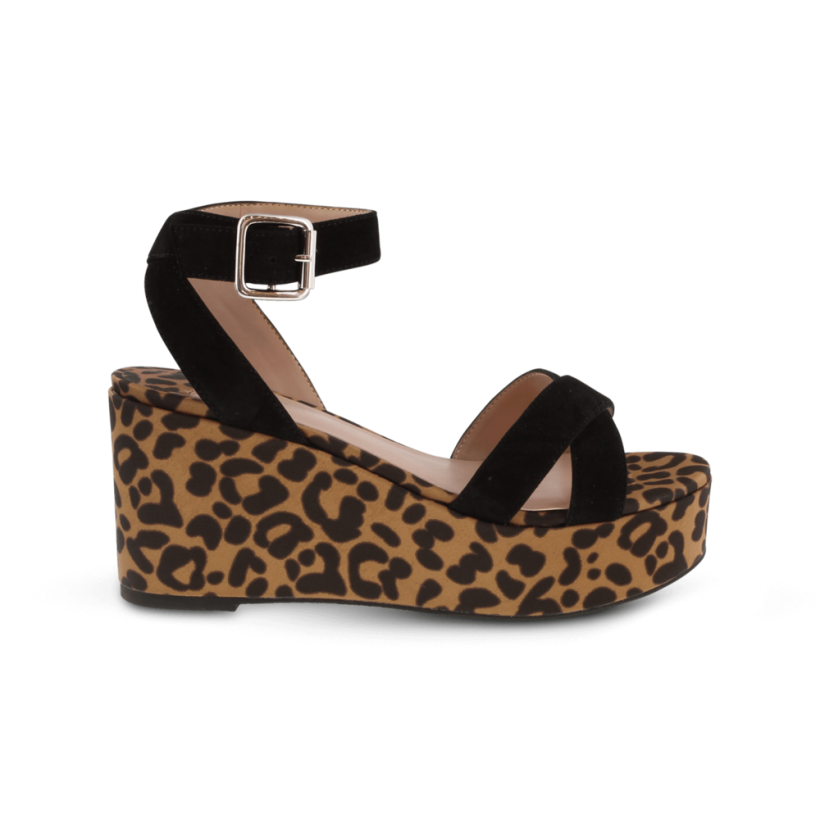 Jax Black Kid Suede/Leopard Satin Wedges by Tony Bianco Shoes
