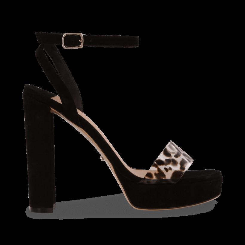 Luela Black Kid Suede/Leopard Vynali Heels by Tony Bianco Shoes