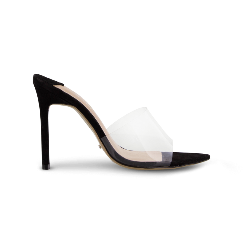 Marley Clear Vynalite/Black Kid Suede Heels by Tony Bianco Shoes