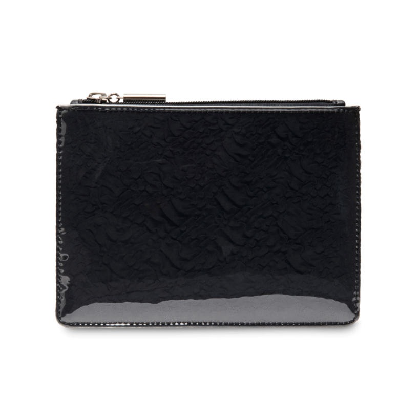 TONY BIANCO - Pedro Clear Vinalyte/Black Crinkle C Pouch by Tony Bianco Shoes
