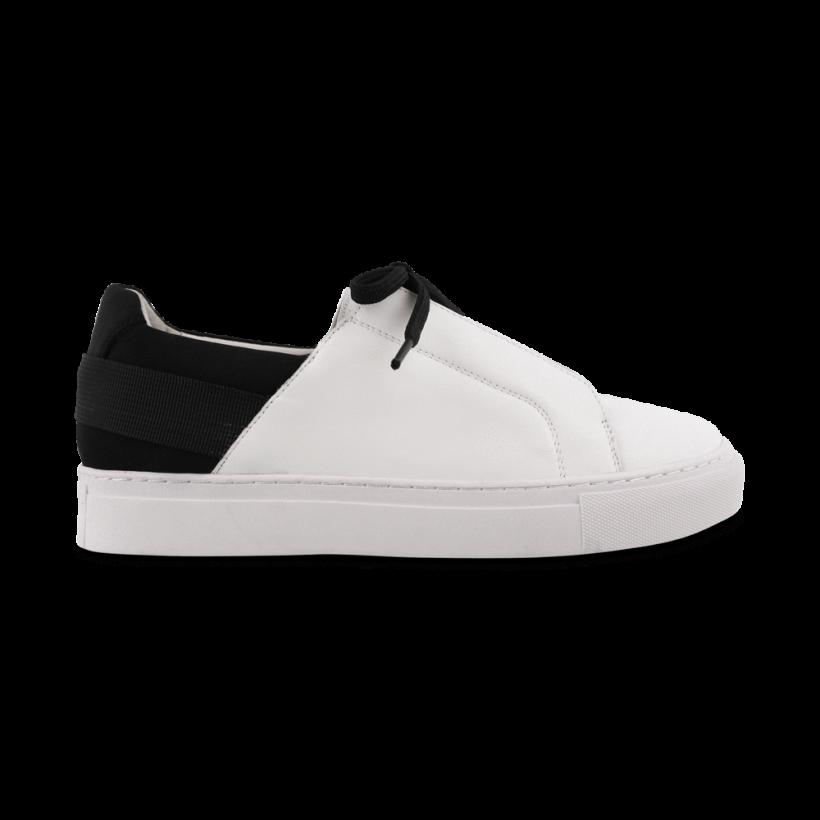 Rita White/Black Neoprene Casual Shoes - White/Black Neoprene Sneakers by Tony Bianco Shoes