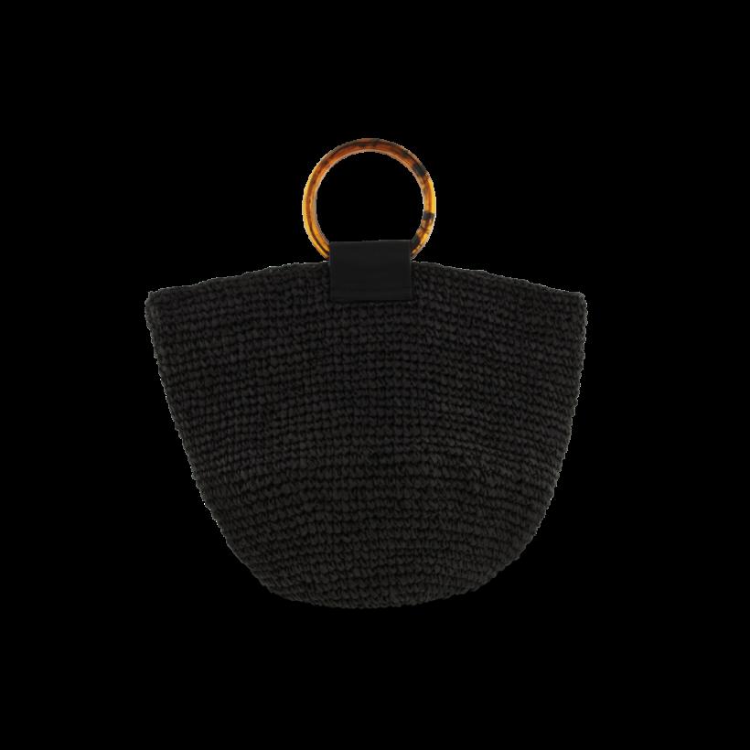 Sandstorm Black Straw Handbag by Tony Bianco Shoes
