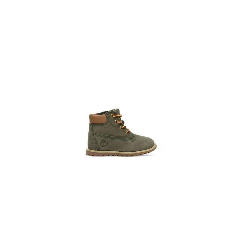 Dark Green Nubuck - Kids Toddler Pokey Pine 6-Inch Boot Https://Www.Timberland.Com.Au/Shop/Sale/Kids/Footwear Shoes by Timberland