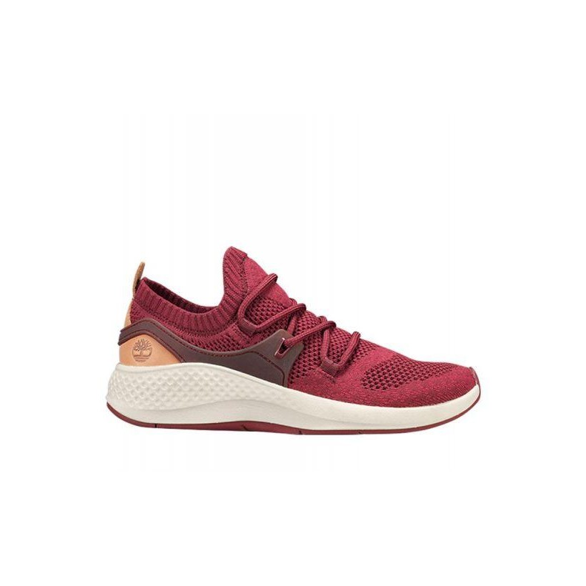 Burgundy Knit - Women's Flyroam Go Knit Sneakers Womena Footwear Shoes by Timberland
