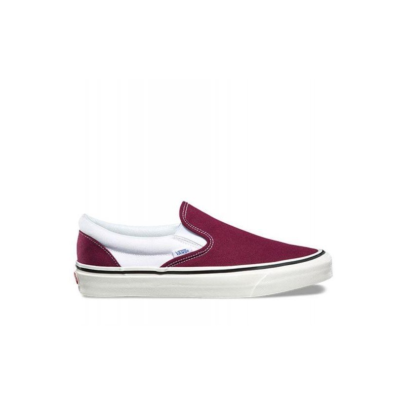 (Anaheim Factory) Og Burgundy/White - Anaheim Factory Classic Slip-On 98 Sale Shoes by Vans