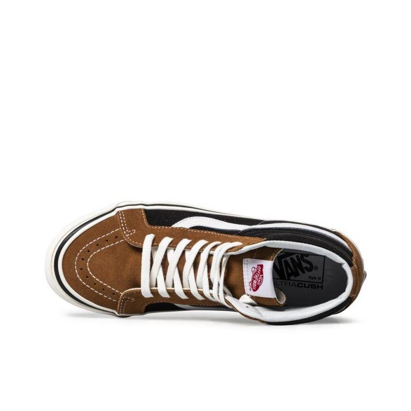 (Anaheim Factory) Og Hart Brown/Og Black - Anaheim Factory SK8-Hi 38 DX Sale Shoes by Vans