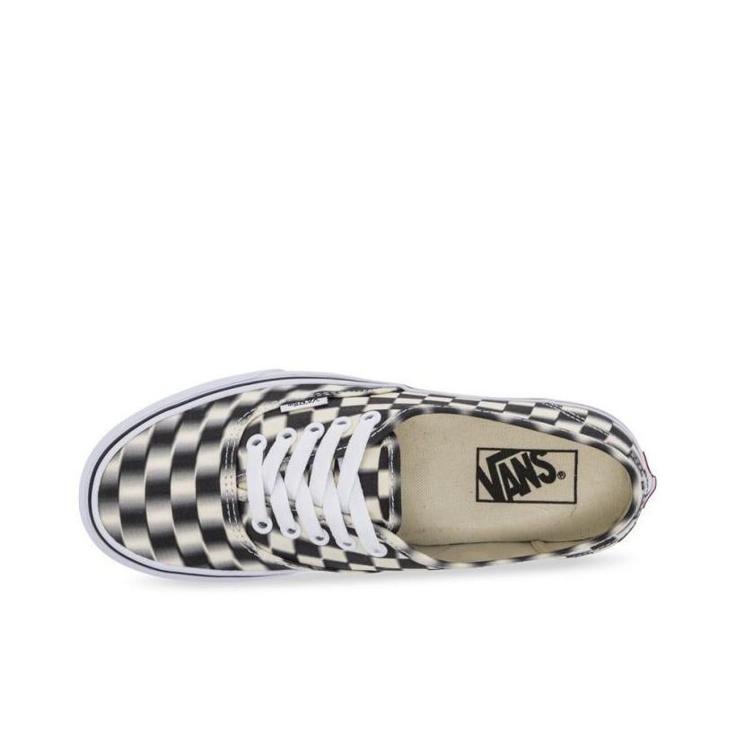 (Blur Check) Black/Classic White - Authentic Blur Check Sale Shoes by Vans