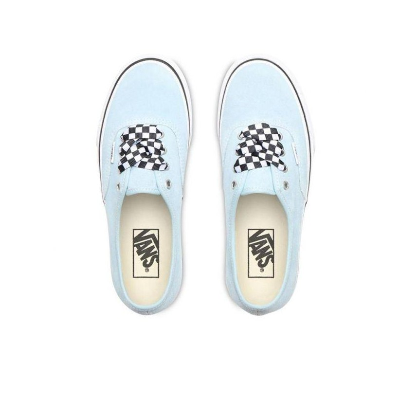 (Checkerboard Lace) Cool Blue/True White - Authetnic Platform 2.0 Cool Blue Sale Shoes by Vans