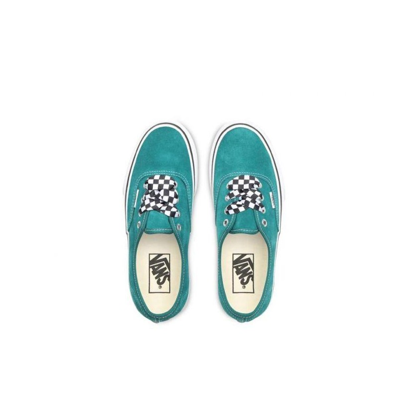 (Checkerboard Lace) Quetzal Green/True White - Authetnic Platform 2.0 Quetzal Green Sale Shoes by Vans