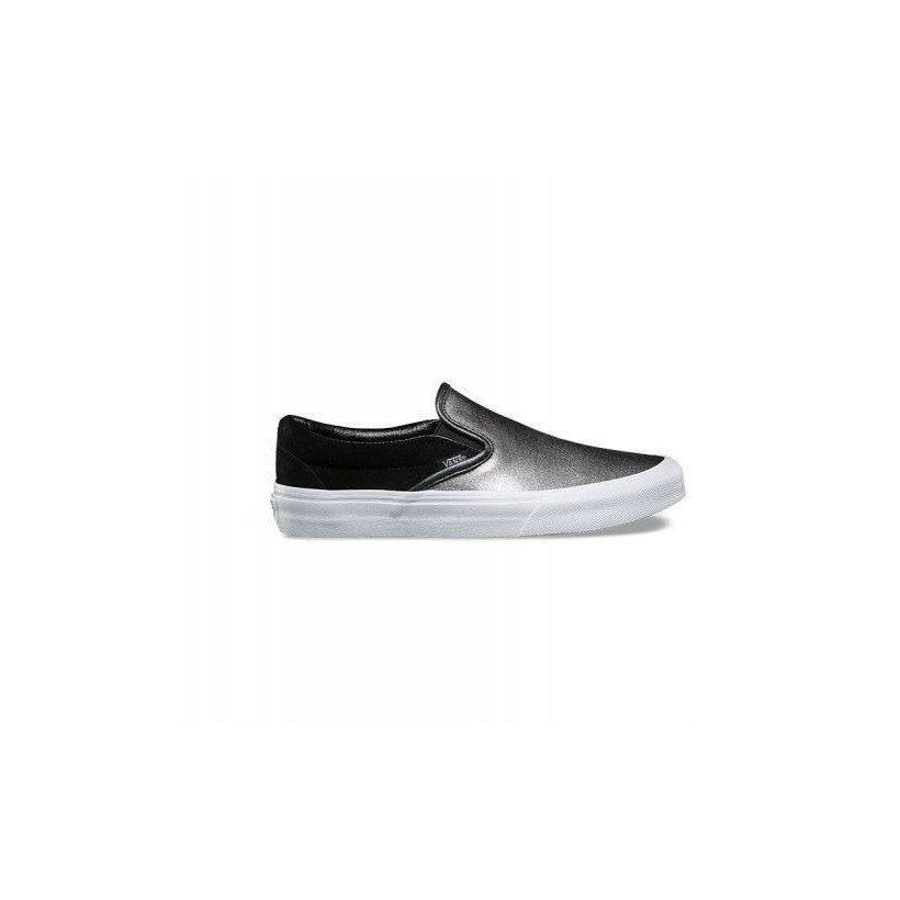 (2-Tone Metallic) black/true white - Classic Slip-On Sale Shoes by Vans