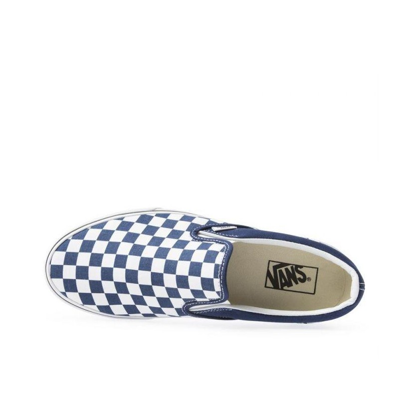 (Checkerboard) Estate Blue/True White - Classic Slip-On Sale Shoes by Vans